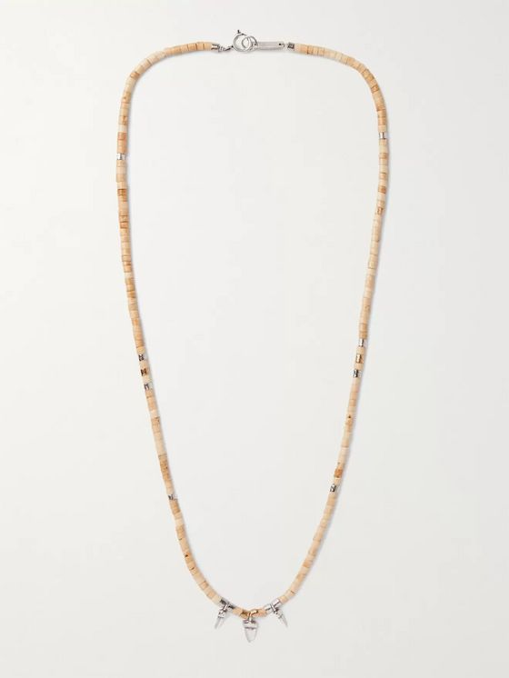 ISABEL MARANT Beaded Brass, Bone and Tin Necklace