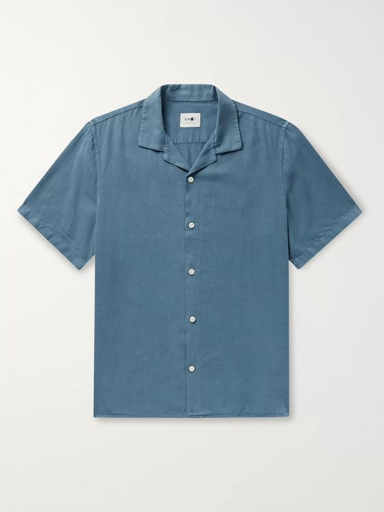 NN07 Miyagi Camp-Collar Tencel and Linen-Blend Shirt