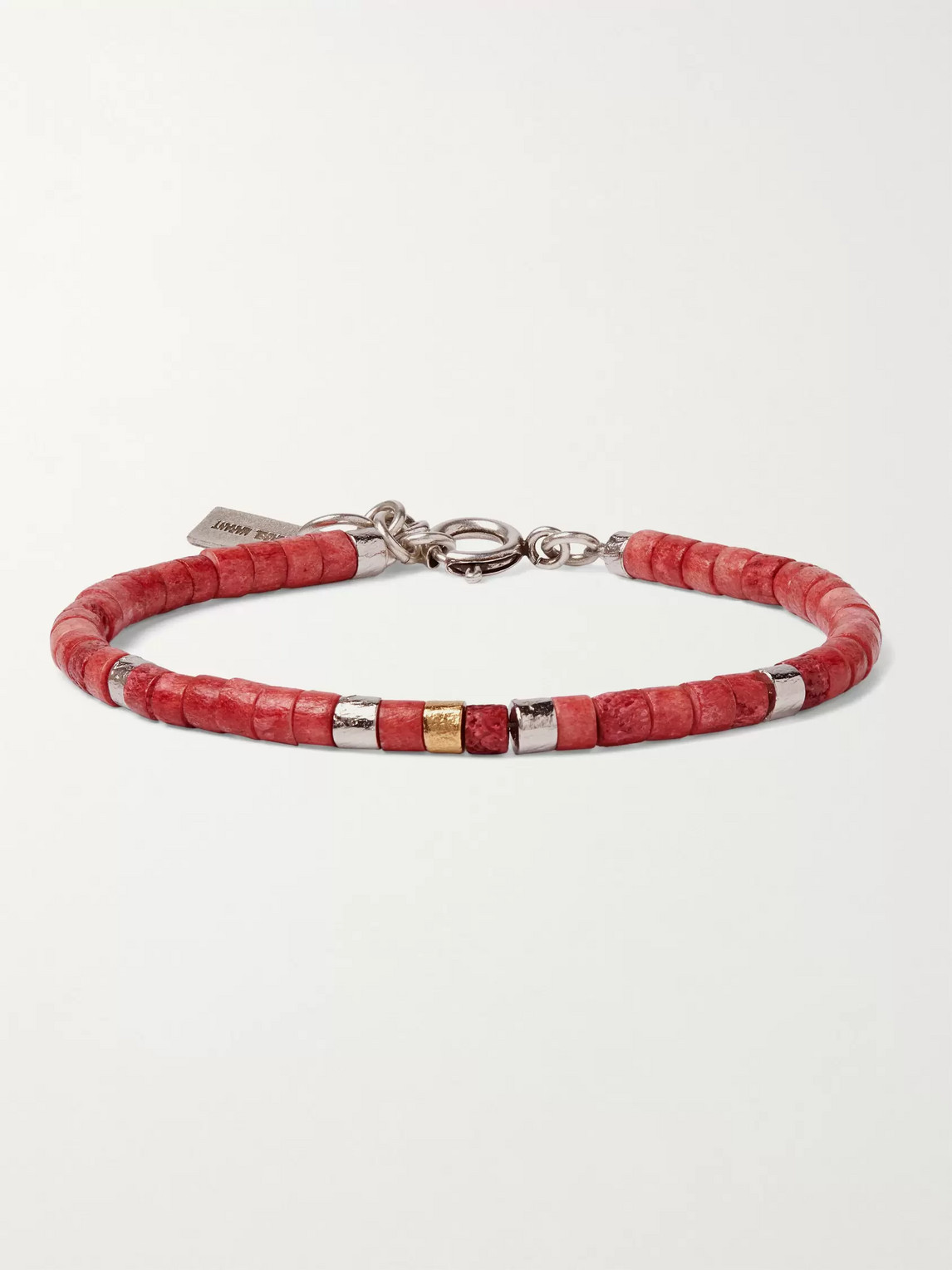 Isabel Marant Silver-tone And Bone Beaded Bracelet In Red