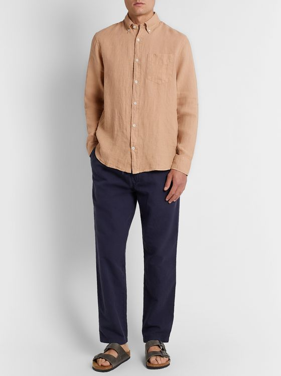NN07 Levon Button-Down Collar Linen Shirt