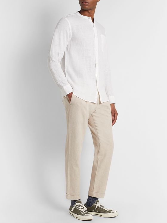 NN07 Codo Tapered Pleated Cotton and Linen-Blend Trousers