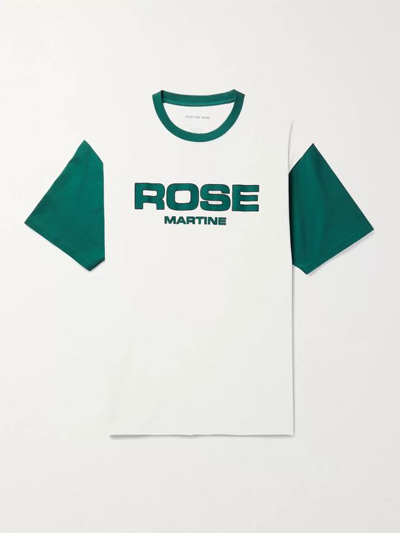 Martine Rose Boss Colour-Block Logo-Print Cotton-Jersey T-Shirt