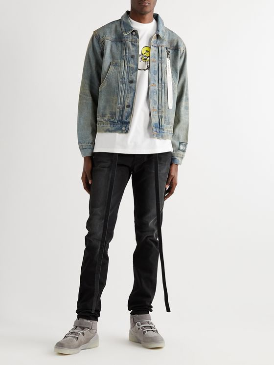 Reese Cooper® Logo-Appliquéd Distressed Denim Jacket