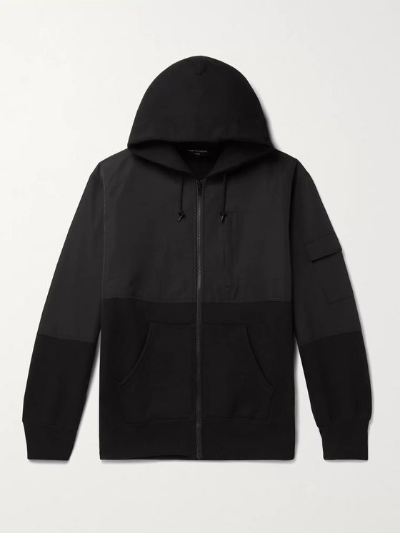 Comme des Garçons HOMME Panelled Fleece-Back Cotton-Jersey and Shell Zip-Up Hoodie