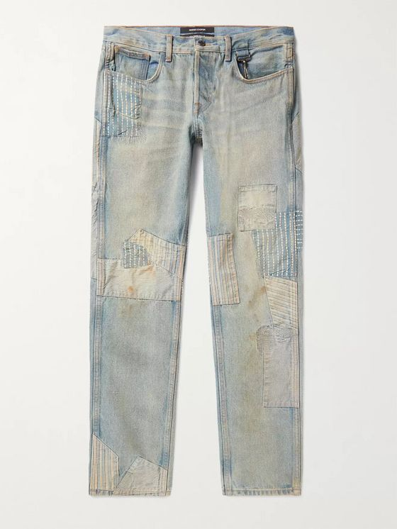 Reese Cooper® Distressed Patchwork Denim Jeans