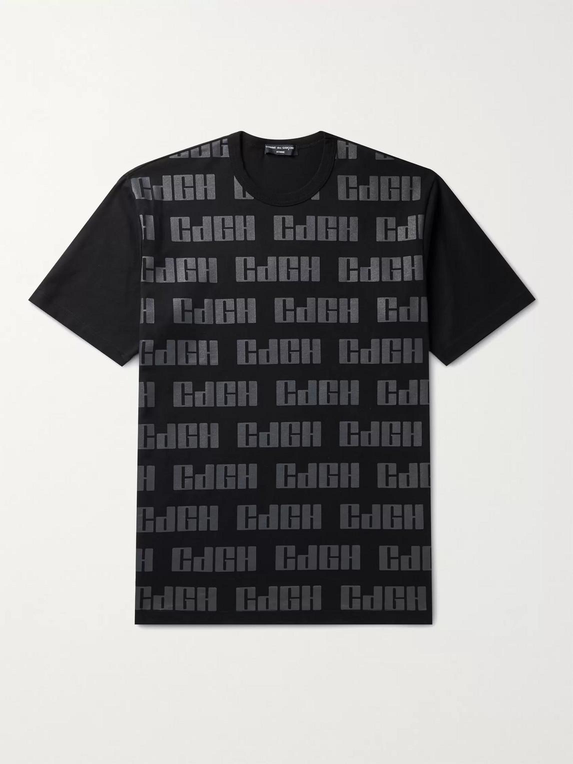 comme des garçons homme - logo-print cotton-jersey t-shirt - men - black