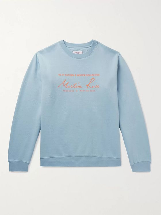 Martine Rose Logo-Jacquard Printed Fleece-Back Cotton-Jersey Sweatshirt