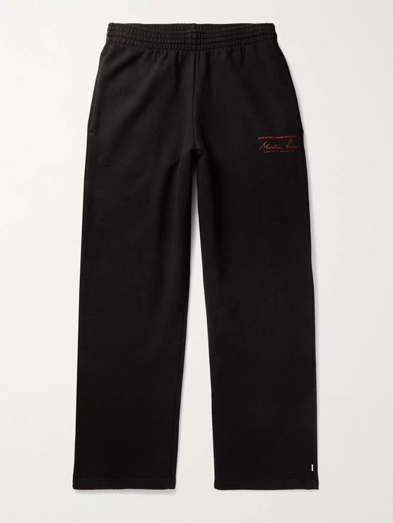 Martine Rose Logo-Jacquard Printed Fleece-Back Cotton-Jersey Sweatpants
