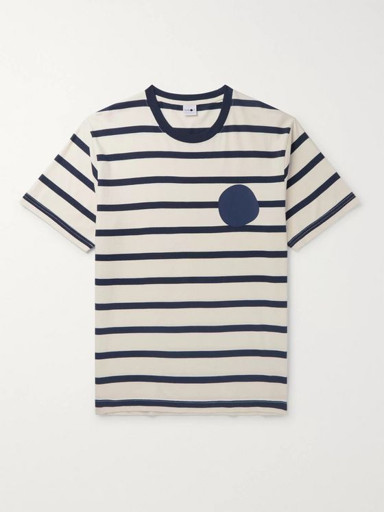 NN07 Dylan Logo-Print Striped Cotton-Jersey T-shirt