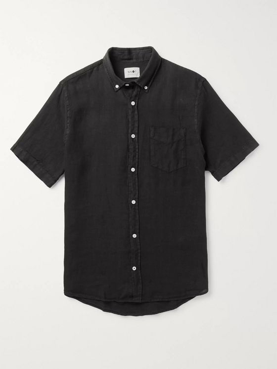 NN07 Tyrion Button-Down Collar Garment-Dyed Linen Shirt