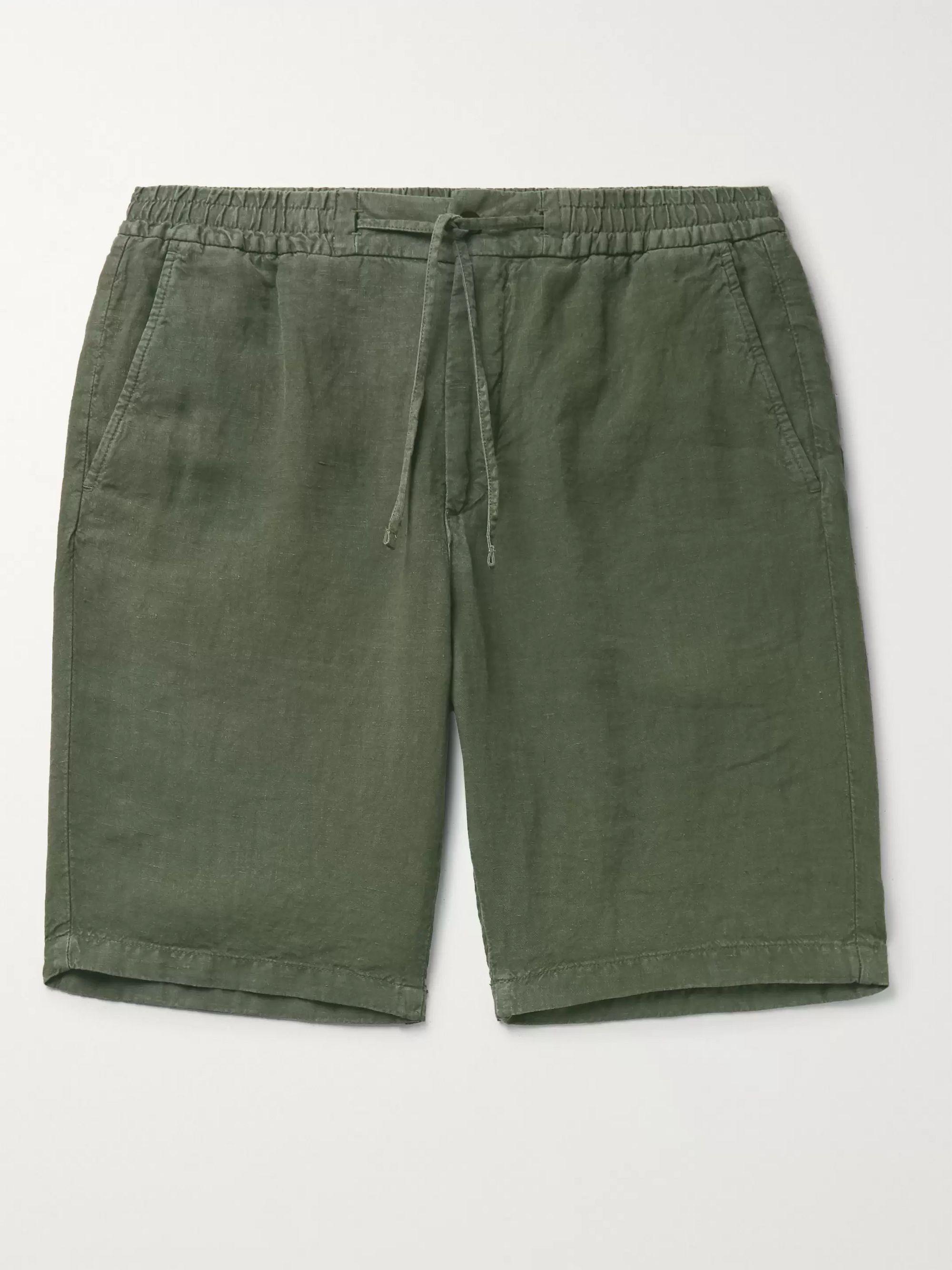 Army Green Seb Linen Drawstring Shorts | Nn07