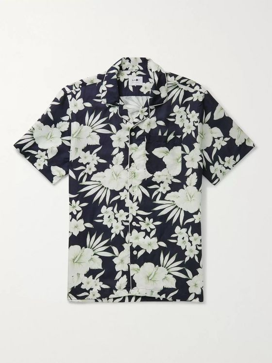 NN07 Paris Camp-Collar Piped Floral-Print Tencel and Linen-Blend Shirt