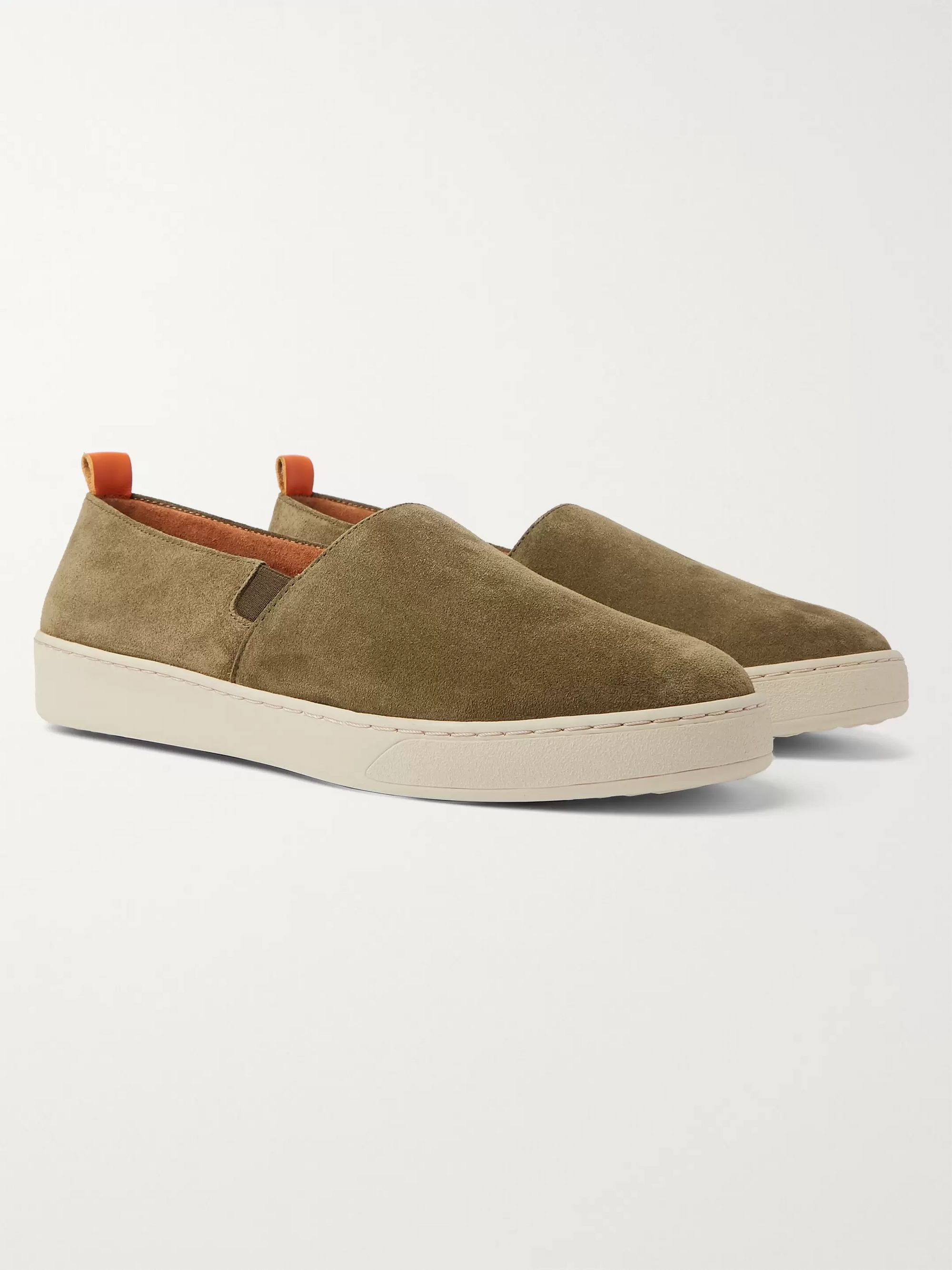 Army Green Suede Slip-on Sneakers | Mulo