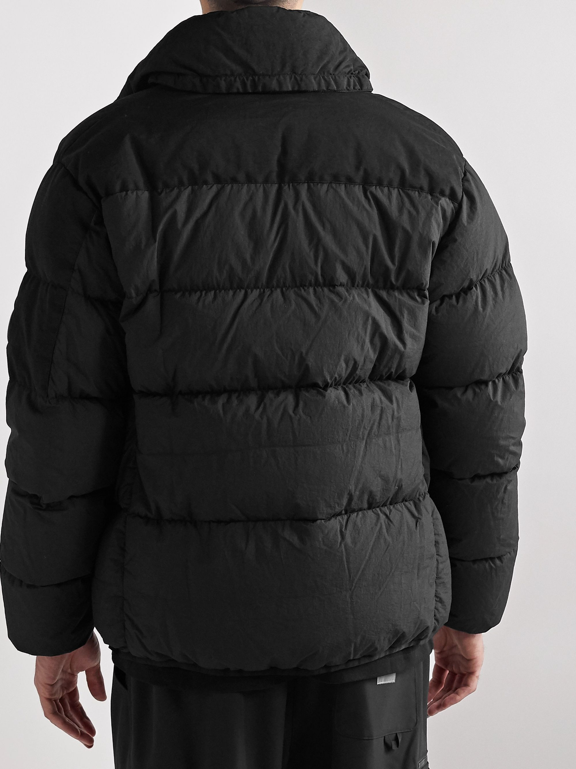 C.P. Company Appliquéd Garment-Dyed Padded Quilted Nylon Jacket