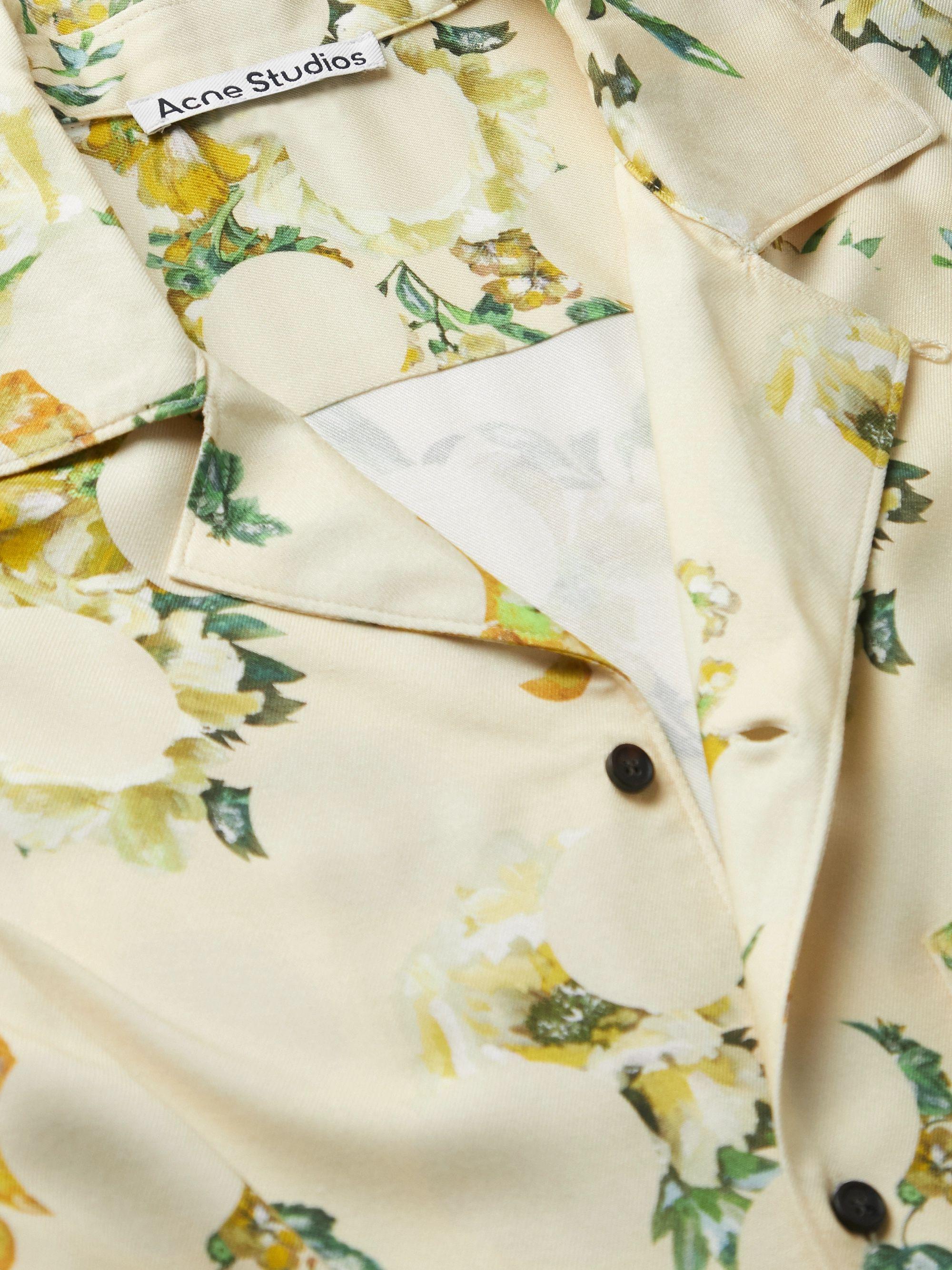 Beige Simon Camp-collar Floral-print Twill Shirt | Acne Studios