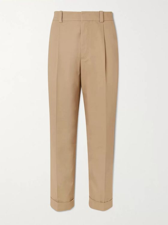 ACNE STUDIOS Pierre Tapered Pleated Cotton-Twill Trousers