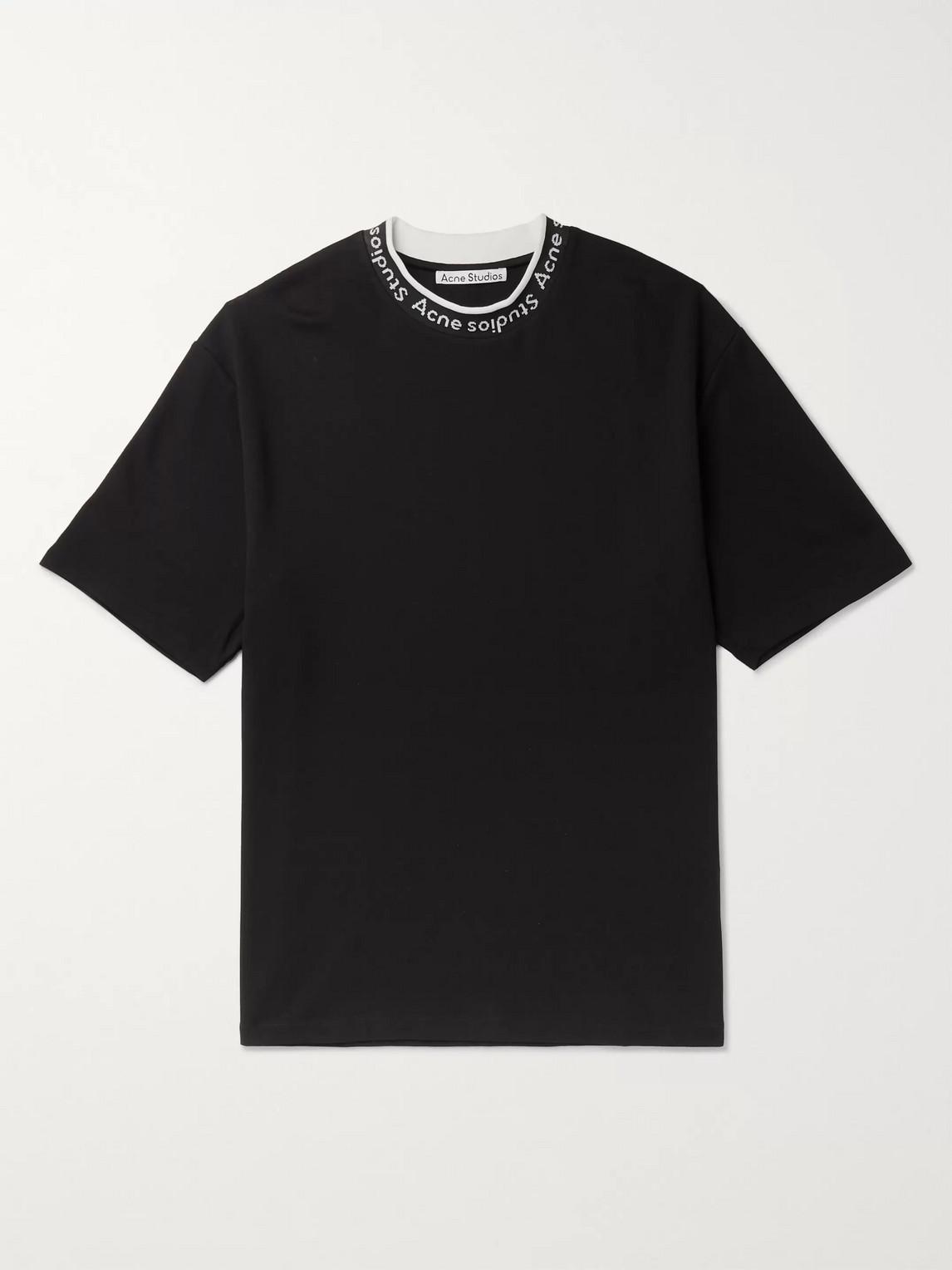 Acne Studios Logo-jacquard Jersey T-shirt In Black