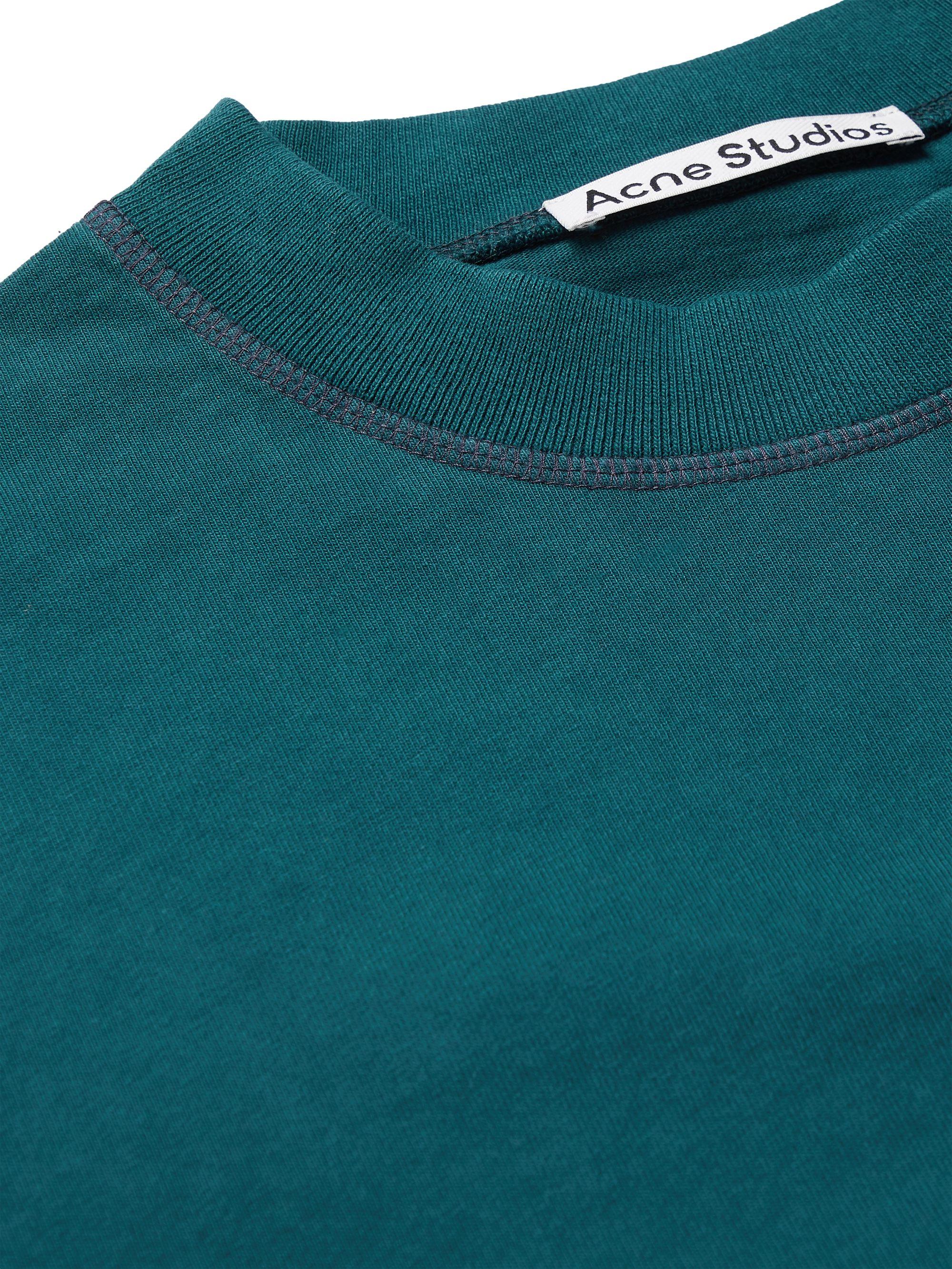 Blue Logo-print Garment-dyed Cotton-jersey T-shirt   Acne Studios