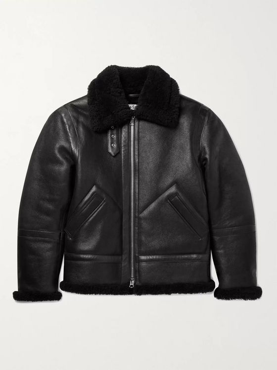 ACNE STUDIOS Shearling-Lined Full-Grain Leather Jacket
