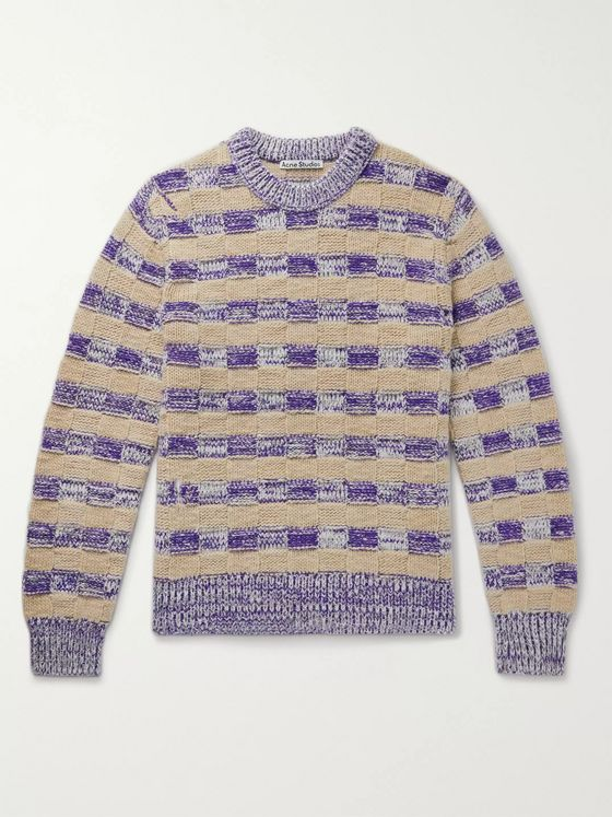 ACNE STUDIOS Striped Basketweave Wool-Blend Sweater