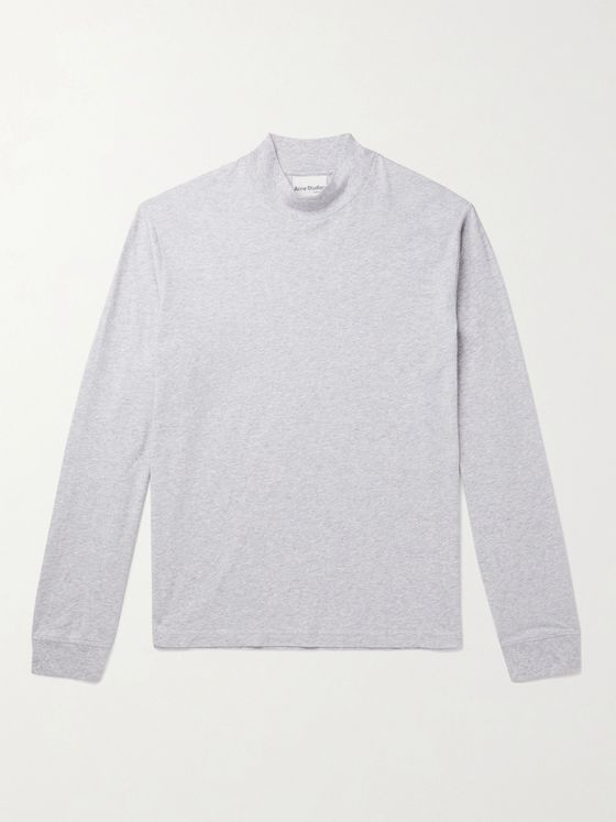 Acne Studios Mélange Cotton-Jersey Mock-Neck T-Shirt