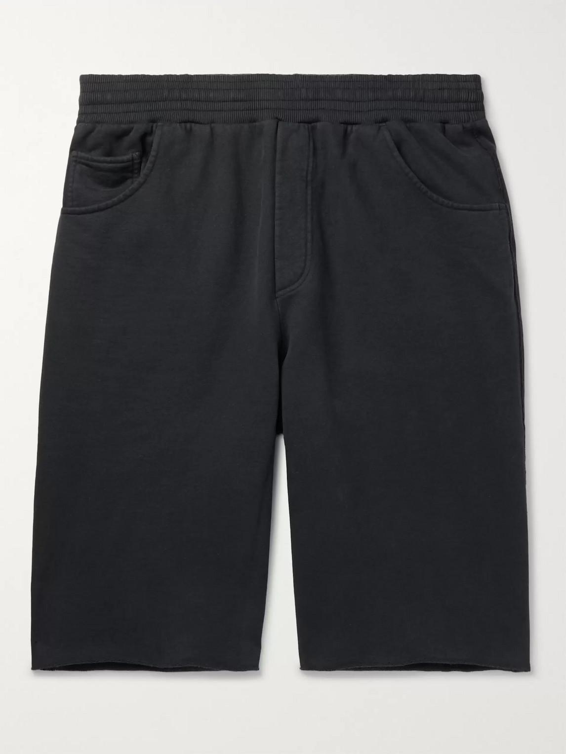 acne studios - wide-leg fleece-back cotton-jersey shorts - men - black