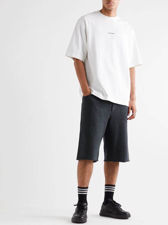 ACNE STUDIOS Wide-Leg Fleece-Back Cotton-Jersey Shorts