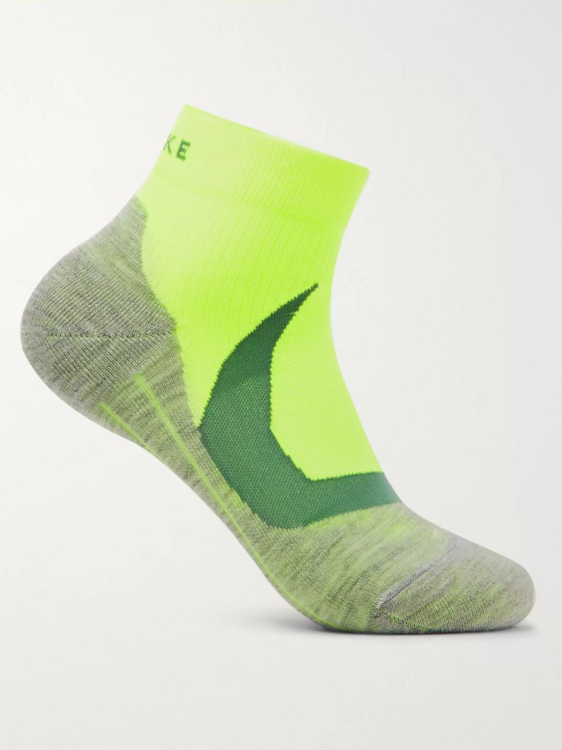 falke ergonomic sport system - ru4 cool mã©lange stretch-knit socks - men - yellow