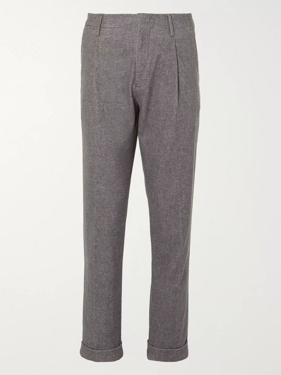 NN07 Codo Tapered Pleated Mélange Cotton-Blend Chinos