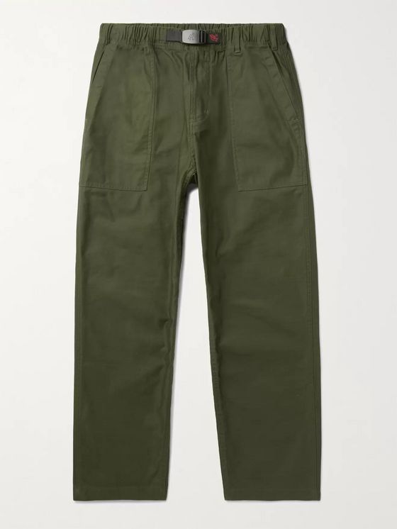 GRAMICCI Tapered Cropped Belted Cotton-Crepe Trousers
