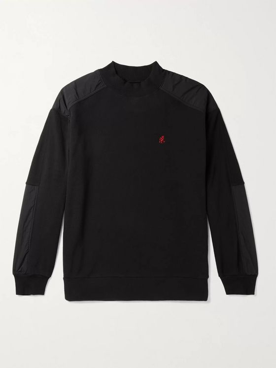 Gramicci Logo-Embroidered Nylon-Trimmed Fleece Mock-Neck Sweatshirt