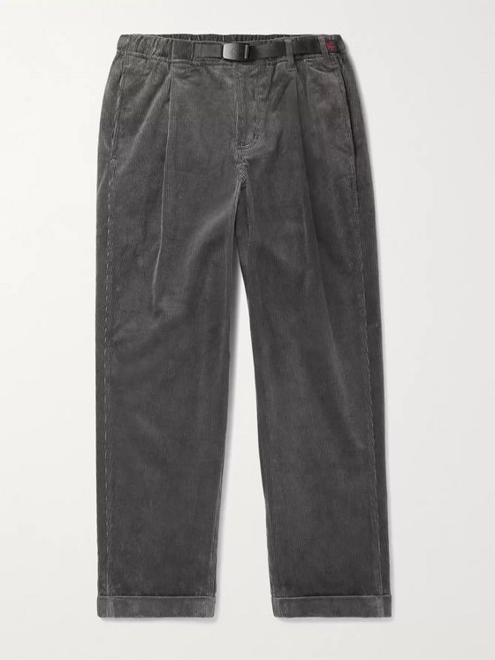 Gramicci Tapered Cropped Belted Pleated Cotton-Blend Corduroy Trousers