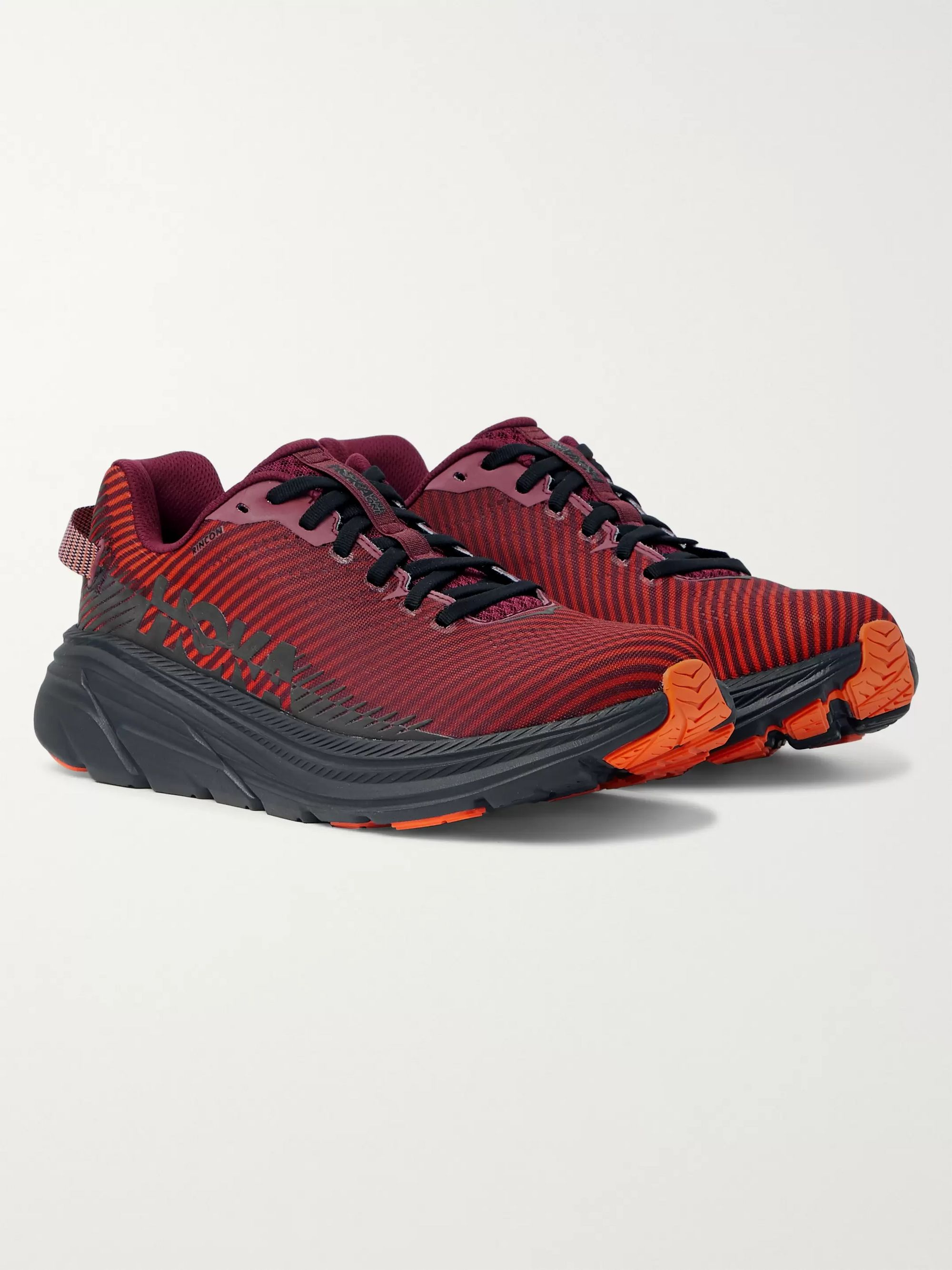 Hoka One One Rincon 2 Striped Mesh Running Sneakers
