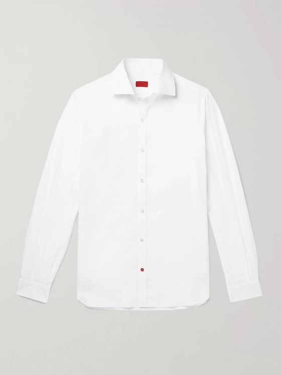 Isaia Slim-Fit Cutaway-Collar Striped Cotton-Seersucker Shirt
