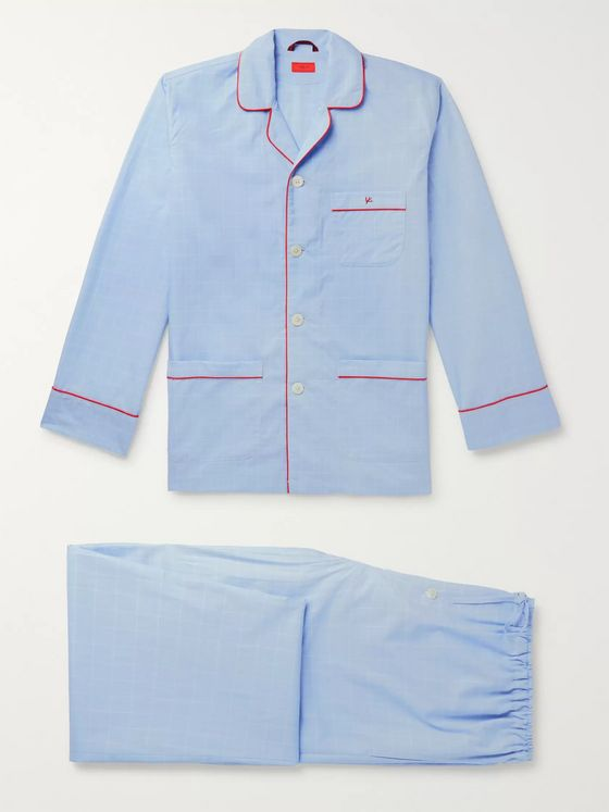 Isaia Piped Prince of Wales Checked Cotton Pyjama Set