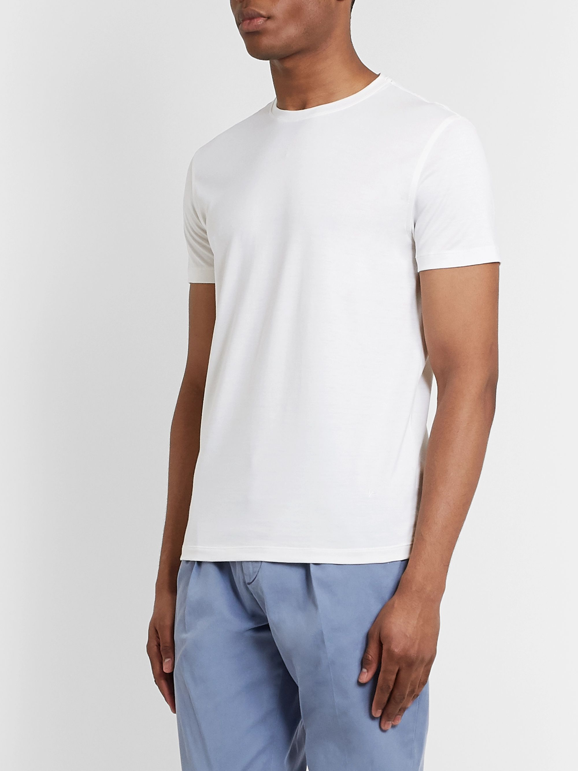 Isaia Mélange Silk and Cotton-Blend Jersey T-Shirt