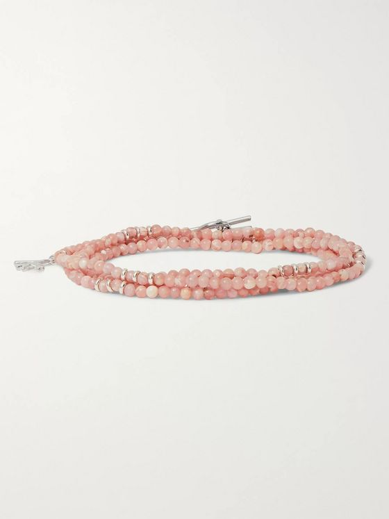 Isaia Rhodonite and Sterling Silver Beaded Wrap Bracelet