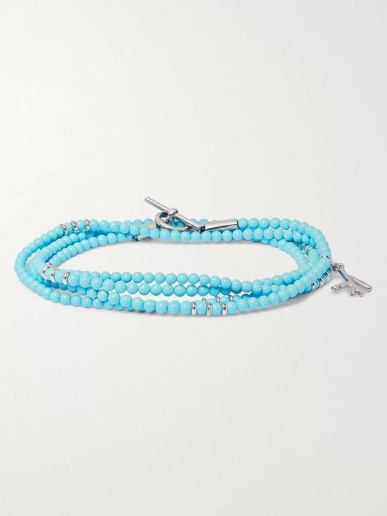 Isaia Saracino Turquoise and Sterling Silver Beaded Wrap Bracelet