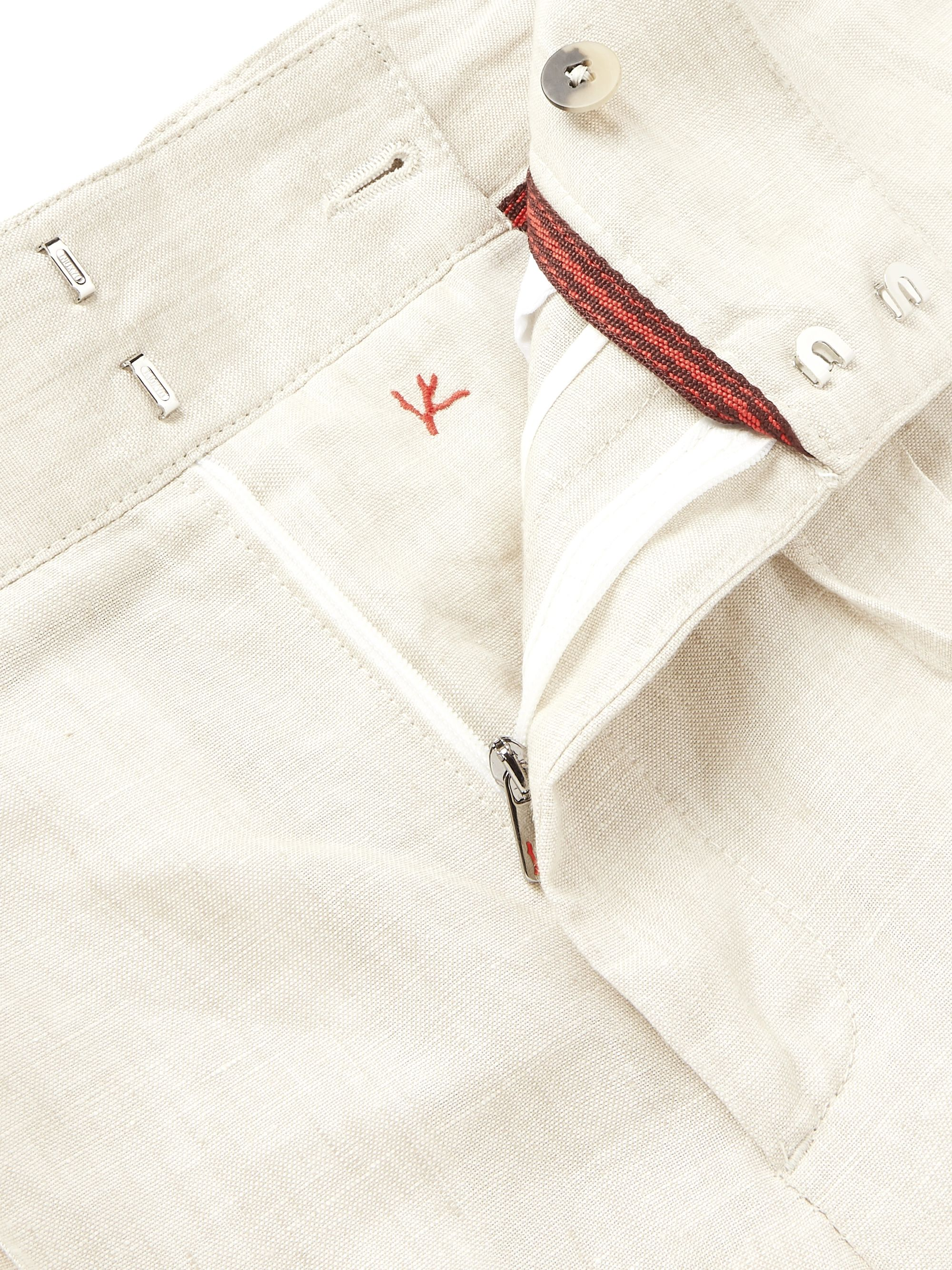 Beige Linen Drawstring Trousers | Isaia