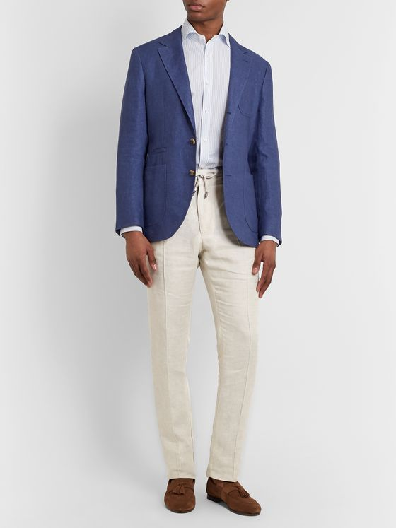 Isaia Linen Drawstring Trousers