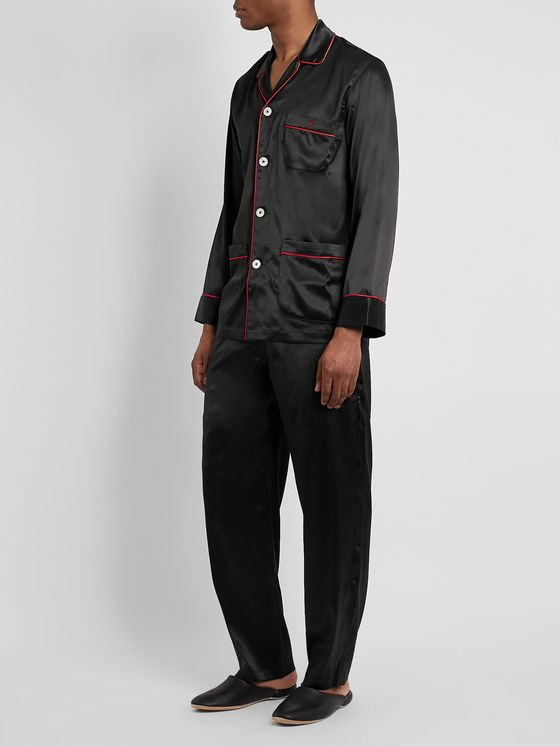 Isaia Piped Silk-Blend Satin Pyjama Set