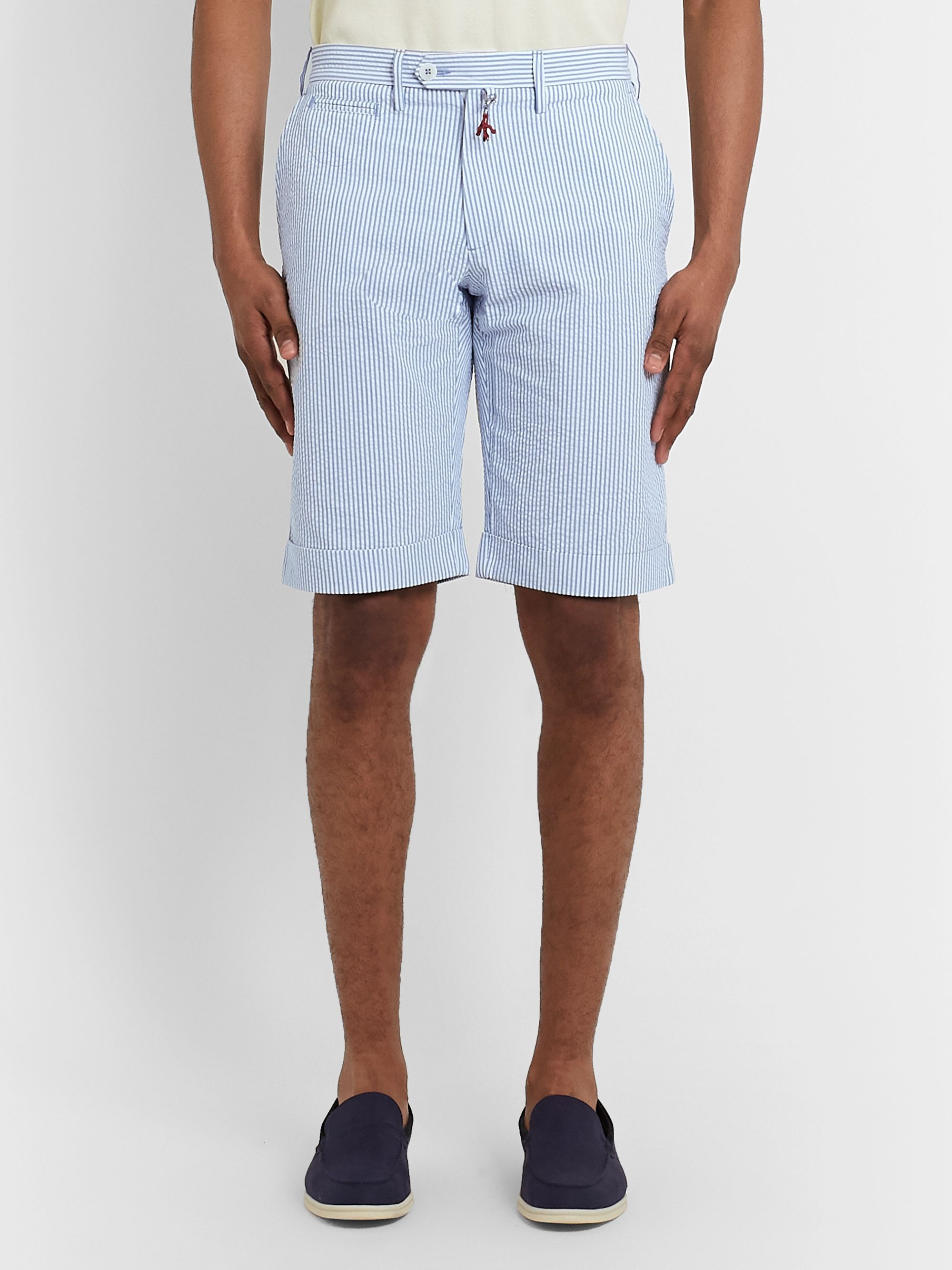 Isaia Striped Cotton-Seersucker Shorts