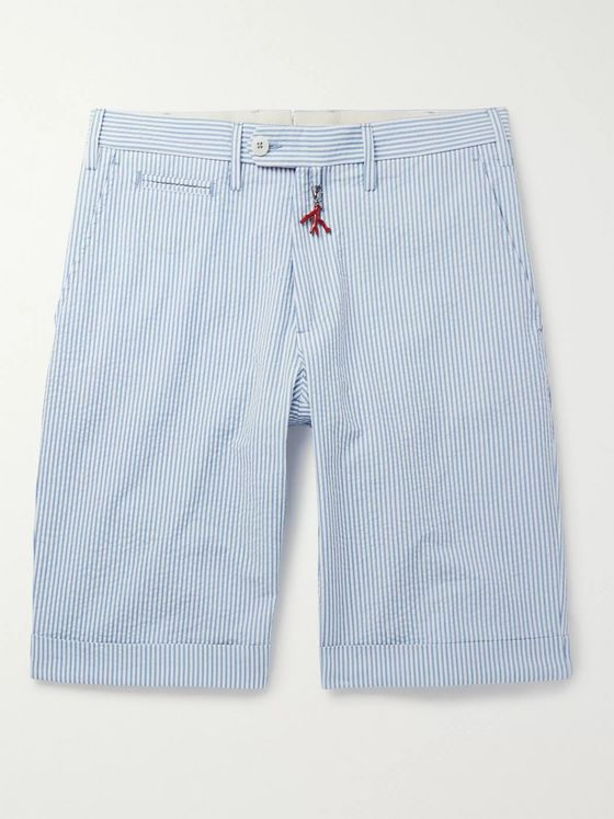 Isaia Slim-Fit Striped Cotton-Seersucker Shorts