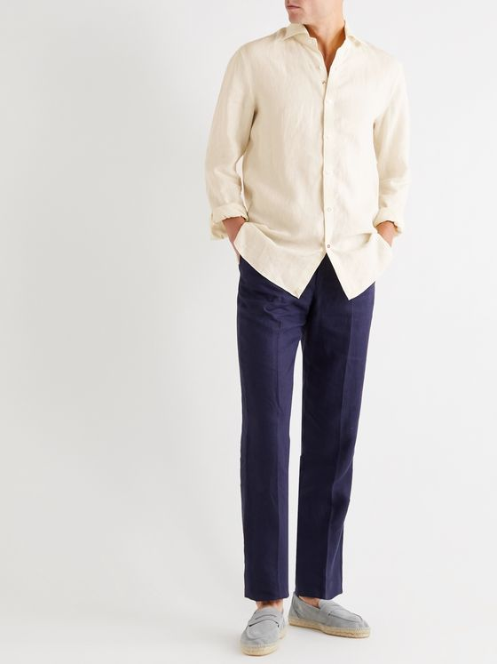 Isaia Slim-Fit Logo-Embroidered Slub Linen Shirt
