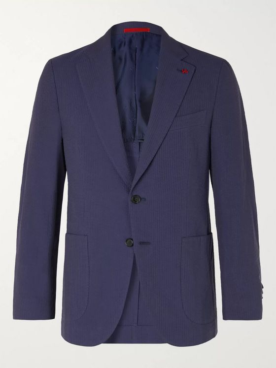 Isaia Slim-Fit Cotton-Seersucker Blazer
