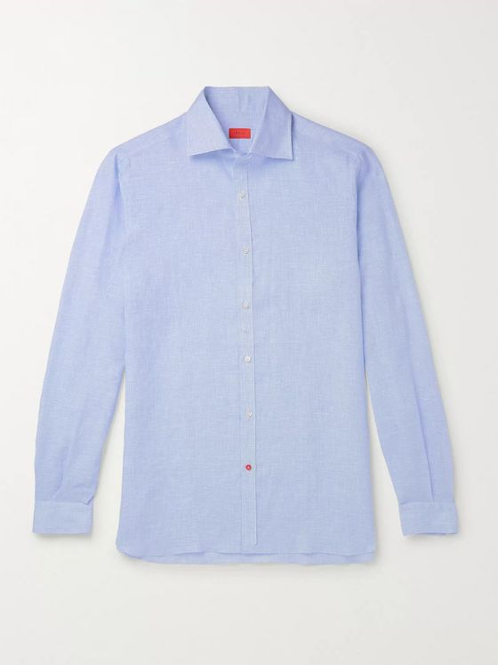 Isaia Slim-Fit Puppytooth Linen Shirt