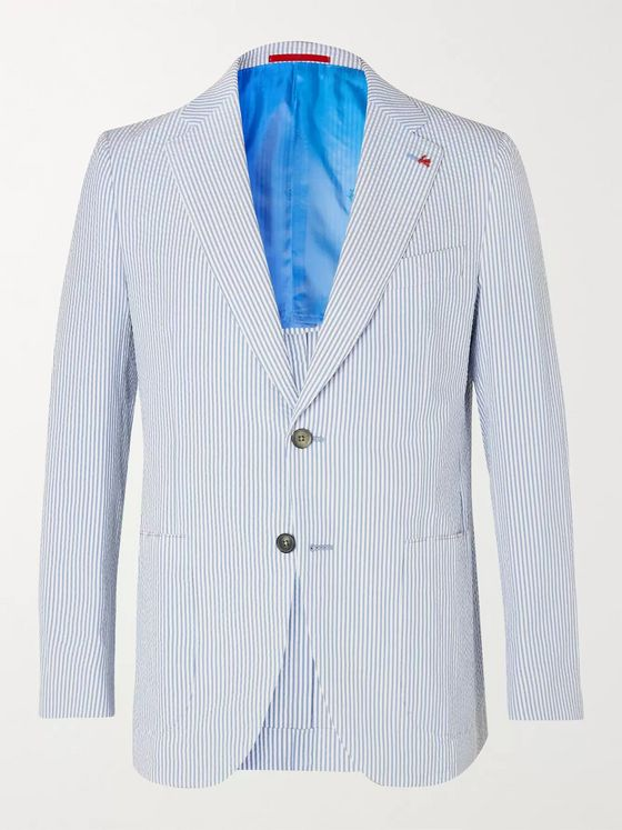 Isaia Slim-Fit Striped Cotton-Seersucker Blazer