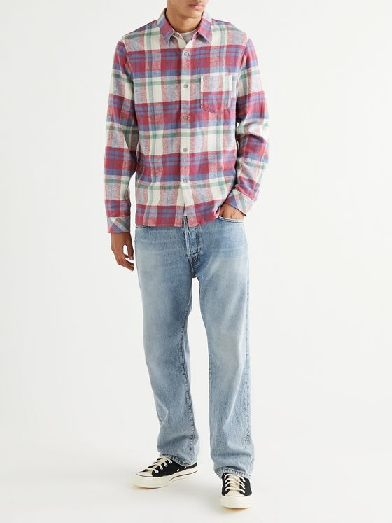 John Elliott Checked Cotton-Flannel Shirt