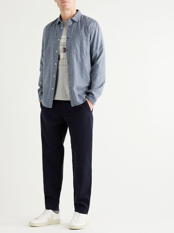 Folk Slim-Fit Melangé Brushed-Cotton Shirt