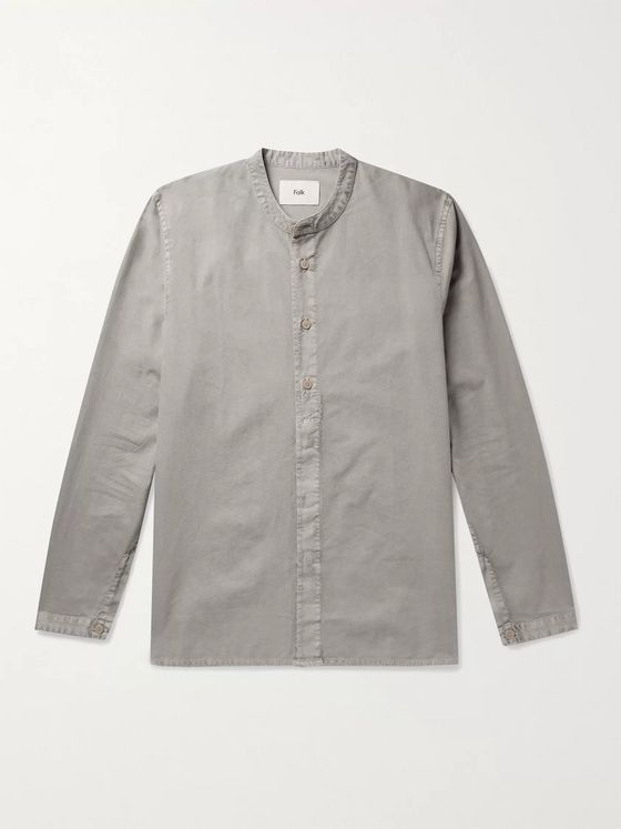 Folk Grandad-Collar Pigment-Dyed Cotton Shirt